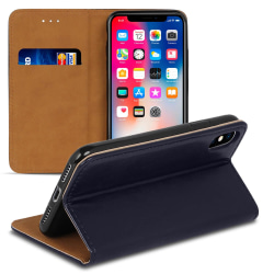 Mobil Fodral för Apple iPhone X / XS Konstläder Plånbok Kortfack Blå
