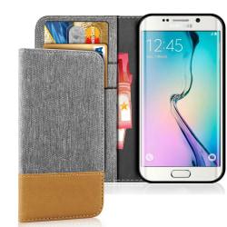 Mobil Skal Plånbok för Samsung Galaxy S6 Edge Konstläder Magnet  grå