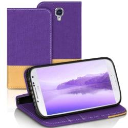 Mobilskal med Kortficka för Samsung Galaxy S4 Skydd Telefon Kons Lila