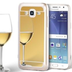 Mobilskal Spegel för Samsung Galaxy J5 Tunnt Skydd Silikon Mobil Guld