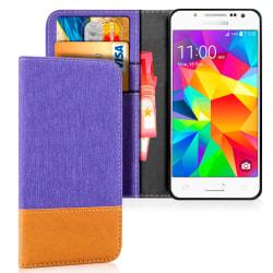 Plånboks Fodral Skal för Samsung Galaxy J5 Mobil Denim Jeans TPU Lila