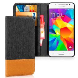 Samsung Galaxy J5 Konstläder Korthållare Skydd Skal Stötsäker Je Mörkgrå