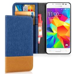 Samsung Galaxy J5 Konstläder Stötsäker Mobil Mobilskydd Korthåll Blå