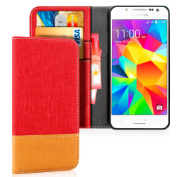 Samsung Galaxy J5 Magnet Telefon Jeans Konstläder Mobilskal Mobi Röd