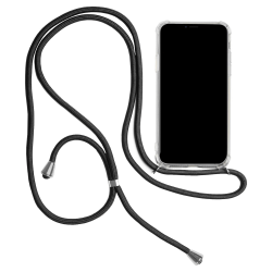 Skal med Halsrem för iPhone 11 Gummi Stötsäker Telefon Skydd Kla Svart