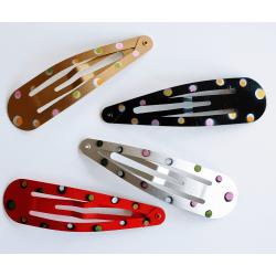 4 hårspännen JUMBO i blandade färger flerfärgad
