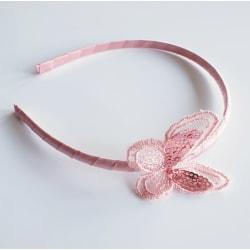 Diadem med fjäril  rosa