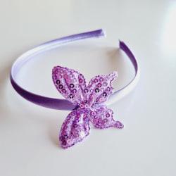 Diadem med stor fjäril med paljetter lila