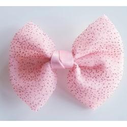Hårspänne med stor glittrig rosett rosa