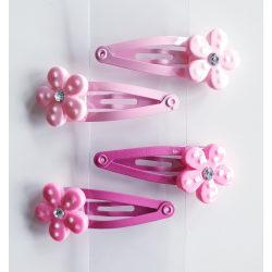 4 hårspännen med blomma rosa