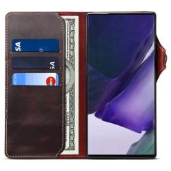 Mobilplånbok 3-kort äkta läder Samsung Galaxy Note 20 Oxblod