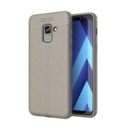Läder mönstrat TPU skal Samsung Galaxy A8 Plus 2018 (SM-A730F) Grå