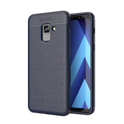 Läder mönstrat TPU skal Samsung Galaxy A8 Plus 2018 (SM-A730F) Blå