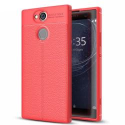 Läder mönstrat TPU skal Sony Xperia XA2 Ultra (H4213) Röd