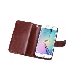 Dubbelflip Magnet 2i1 Samsung Galaxy S6 Edge (SM-G925F) Brun
