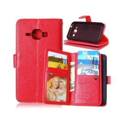 Dubbelflip Flexi 9-kort Samsung Galaxy J1 2015 (SM-J100H) Röd