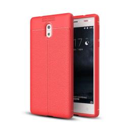 Läder mönstrat TPU skal Nokia 3 (TA-1032) Röd