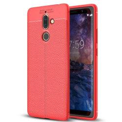 Läder mönstrat TPU skal Nokia 7 Plus (TA-1046) Röd