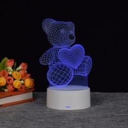 Teddybjörn Lampa-3D LED   Valentine   Alla hjärtans dag