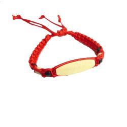 Armband för barn med namnplatta av trä Röd