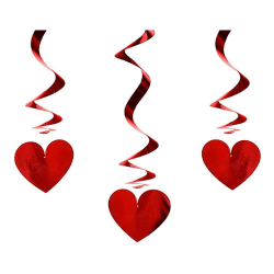 3-Pack - Hängande Dekoration Hjärtan - Röda