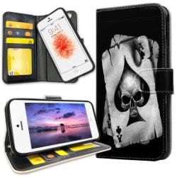 iPhone 5C - Plånboksfodral Döskalle Kortlek