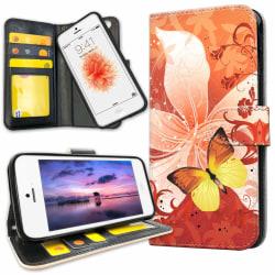 iPhone 5C - Plånboksfodral Fjäril & Blomma