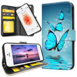 iPhone 5C - Plånboksfodral Glittrande Fjärilar