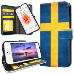 iPhone 5C - Plånboksfodral Svenska Flaggan