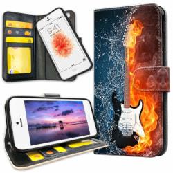 iPhone 5C - Plånboksfodral Vatten och Eld Gitarr