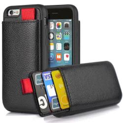 iPhone/Samsung/Huawei - Skal med Dolt Kortfack / Korthållare Black iPhone 8