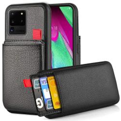 Samsung Galaxy S20 Ultra - Skal med Dolt Kortfack / Korthållare Svart