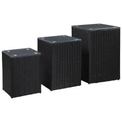 Sidobord 3 delar med glasskiva svart konstrotting