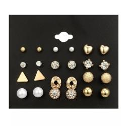 12 par Stud Guld Örhängen - Kulor, Hjärta, Rhinestones & Pärla Guld