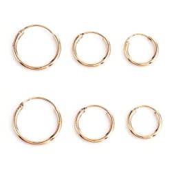 3 par Små Guld Örhängen - Hoop / Creoler i Olika Storlekar  Guld