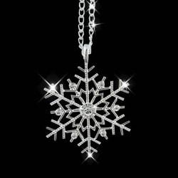 Silver Halsband till Jul / Christmas - Snöflinga med Kristaller Silver
