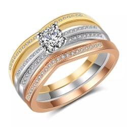 3i1 Ring- Guldpläterad & Kristaller - Rosé Guld Silver -Stl 18,2 Guld
