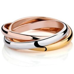 3i1 Ring i 3 Färger: Rosé Guld Silver - Guldpläterad - Stl 16,5 Guld