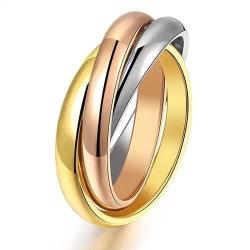 3i1 Ring i 3 Färger: Rosé Guld Silver - Rostfritt Stål - Stl 17 Guld