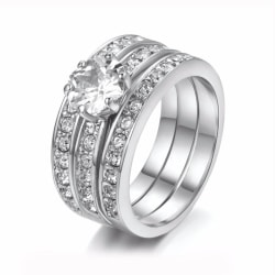 3i1 Ring - Silver & Vita CZ Kristaller - 18K Vit GP - Stl 19,8 vitt guld
