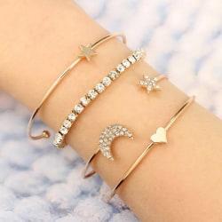 4 st Guld Armband / Bangle med Hjärta, Stjärna & Strass Guld
