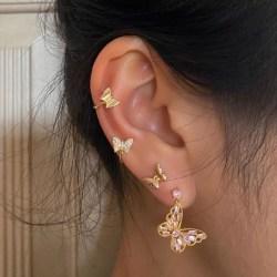 4 st Guld Örhängen - Ear Cuff & Stud / Fjärilar med Rhinestones Guld