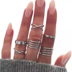 6-pack Boho Silver Ringar - Släta, Blanka & Spiraler Silver