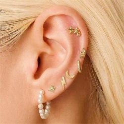 7 st Guld Örhängen - Stud, Ear Cuff med Strass & Hoop med Pärlor Guld