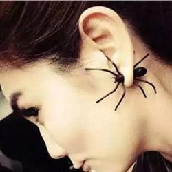 Punk Stud Örhänge - Cool Svart Spindel / Black Spider -Halloween Svart