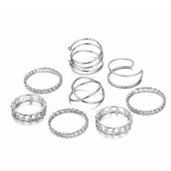 8-pack Silver Ringar - Blanka, Tvinnade & Olika Mönster Silver