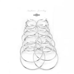 6 par Silver Örhängen - Hoop / Creoler i Olika Storlekar  Silver