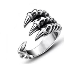 Antik Silver Ring med Drakklo Örnklo / Devil Claw - Justerbar  Silver one size