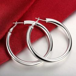 Blanka Stora Hoop Silver Örhängen - Klassiska & Stilrena  Silver