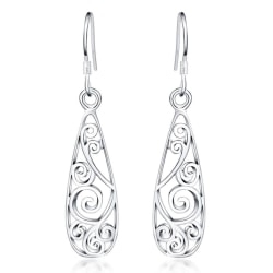 Bohemiska Långa Silver Örhängen - Unikt Snirkligt Mönster  Silver